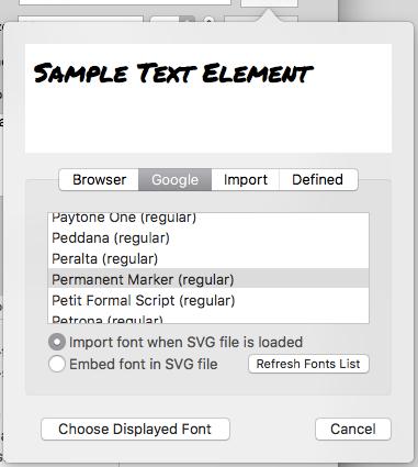 text> Element Editor – macSVG